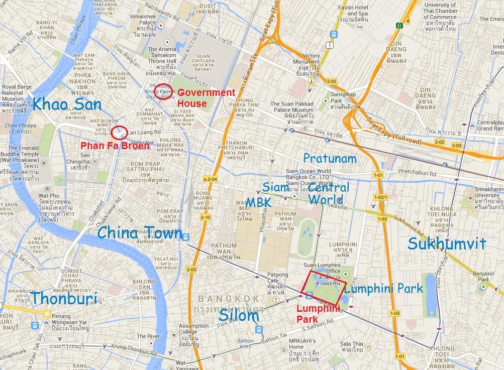 Kort over demonstrationsstederne - baserne - i Bangkok 2014