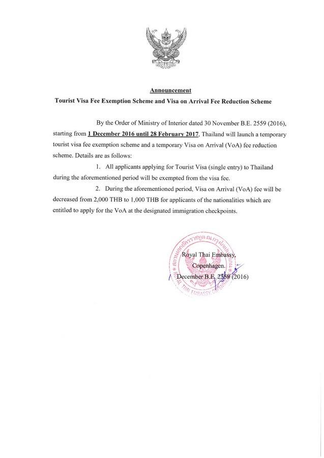 Gratis turistvisum til Thailand indtil 28. august 2017